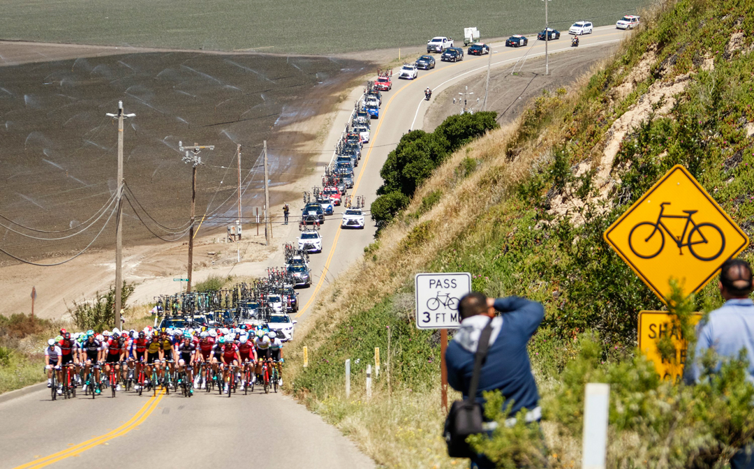 Racers in the Tour of California climb up onto the Nipomo Mesa during the third stage of the Amgen Tour of California which started in Pismo Beach and finishes in Morro Bay.