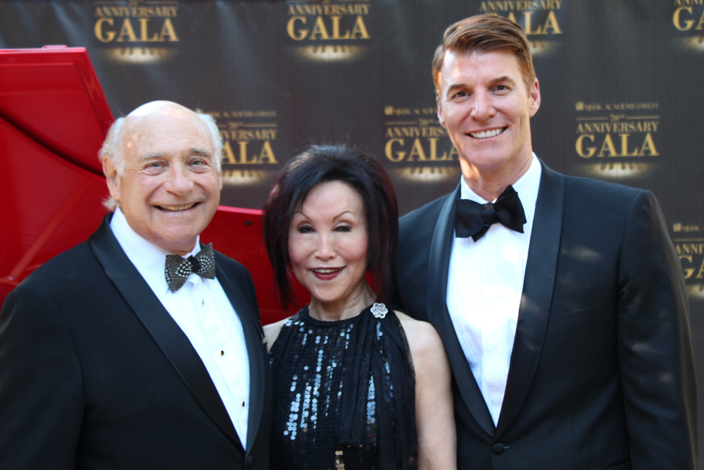 Scott Reed, left, Music Academy of the West president and CEO, joins event co-chairs Maurice Singer and Hyon Chough at the academy's 70th Anniversary Gala held May 21 at its Miraflores campus in Santa Barbara.