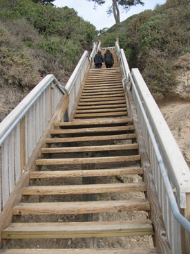 The newly-renovated Mesa Lane steps provide a crucial access to the beach for Santa Barbara residents. (Giana Magnoli / Noozhawk photo)