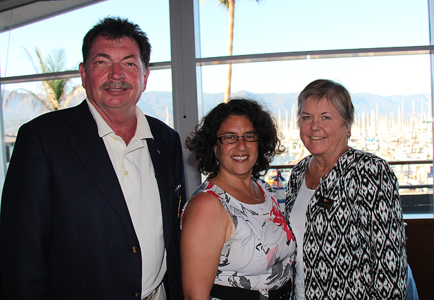 Roger Chrisman, 2010 Santa Barbara Yacht Club commodore, with Santa Barbara Mayor Helene Schneider and Sue Chrisman.