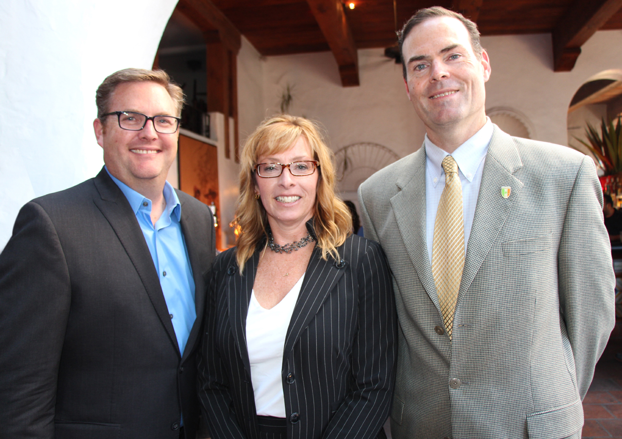 Mike Traphagen, left, who accepted a Community Collaboration Award on behalf of the Santa Ynez Band of Chumash Indians, with Channel Islands YMCA chief operating officer Margo Byrne and Mike Denver, Montecito Family YMCA board chair.