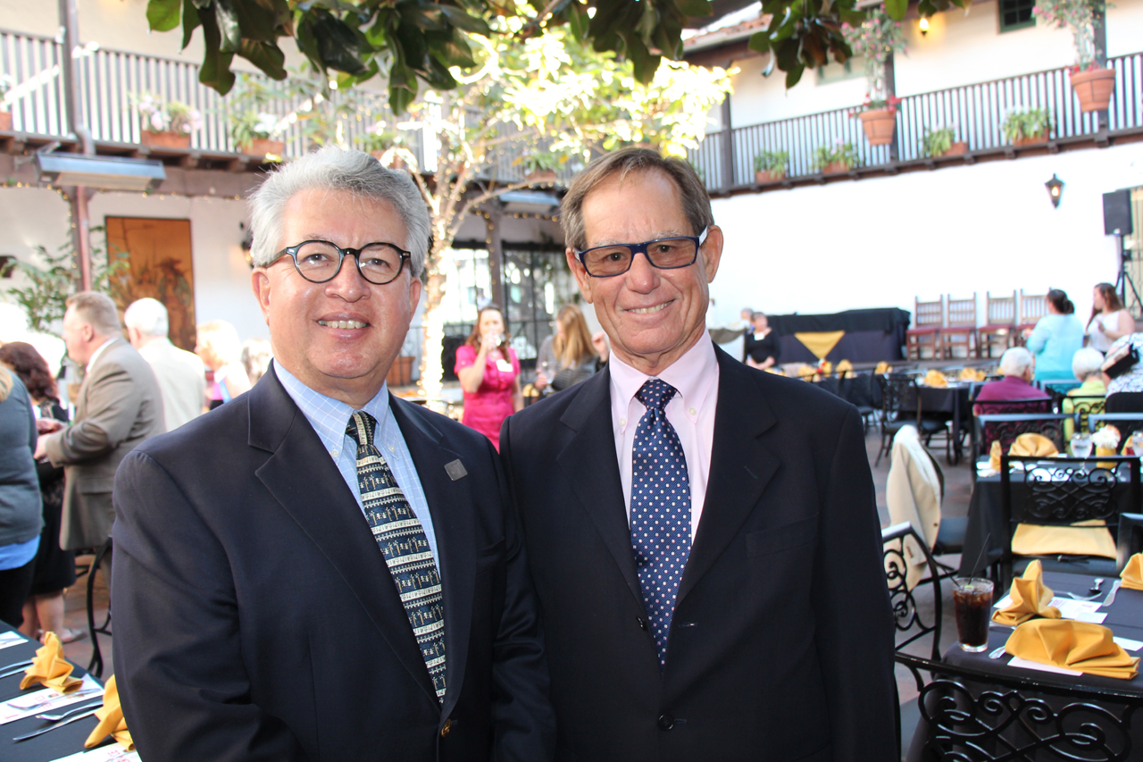 Sal Cisneros, left, president and CEO of the Channel Islands YMCA, with Montecito board of managers and CIYMCA board of directors member Andy Grant, winner of the Golden Triangle of Distinguished Service.