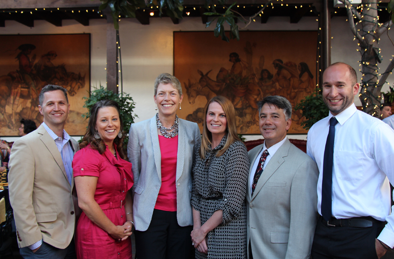 Channel Islands YMCA executive directors, from left, Craig Prentice of the Stuart C. Gildred Family YMCA, Megan Voshell of the Camarillo Family Y, Lynn Karlson of the Youth and Family Services YMCA, Amy Bailey Jurewicz of the Ventura Family YMCA, Michael Yamasaki of the Montecito Family YMCA and Thomas Speidel of the Lompoc Family YMCA.