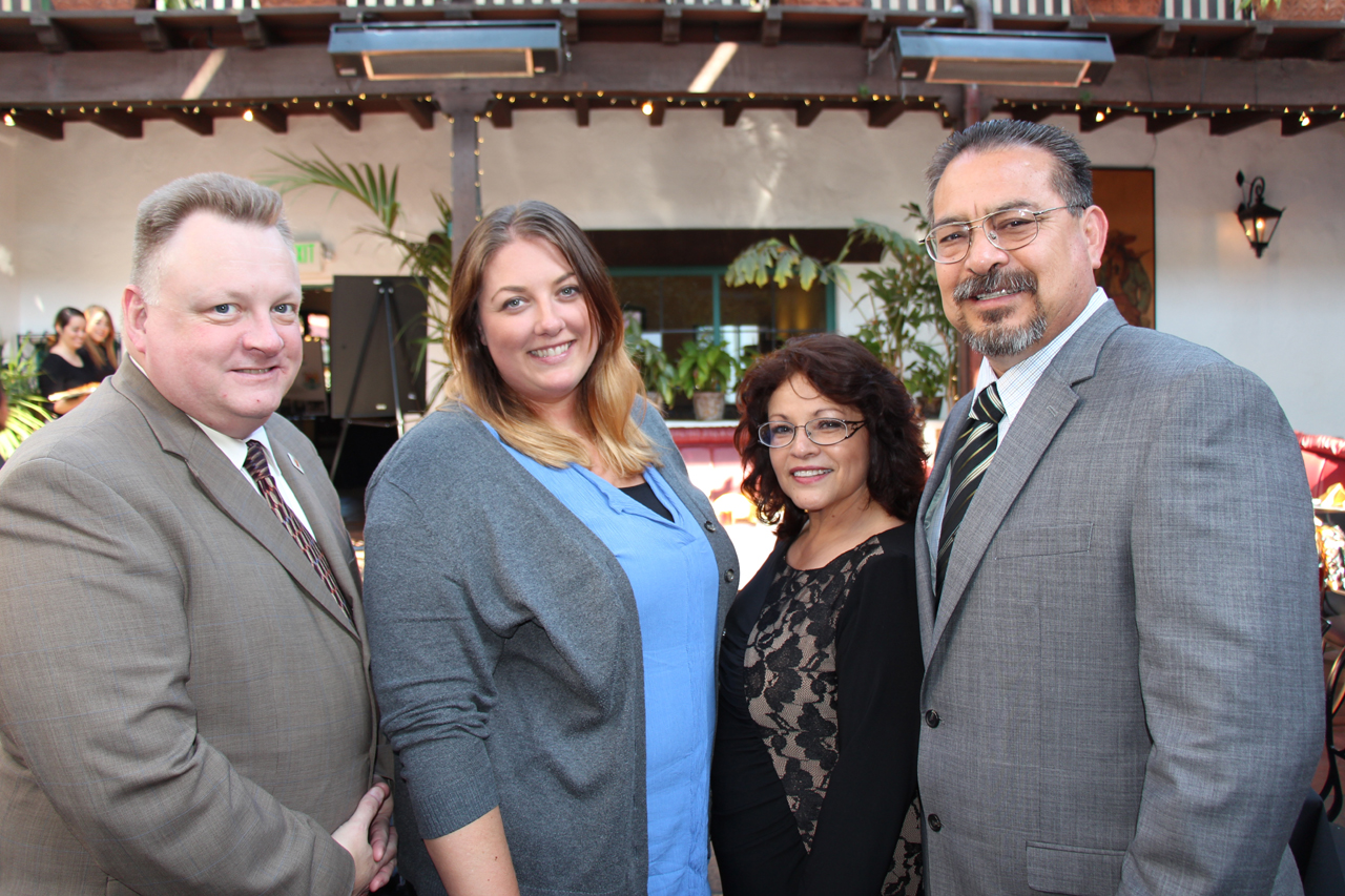 Ana and Raymundo Maya, Lompoc Family YMCA board member and winner of the Golden Triangle of Distinguished Service., with board members Ed Braxton and Danica Barrick.